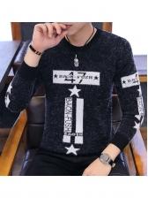 Stylish JacquardWeave Long Sleeve Male Sweater