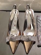 Diamond Bow Specular Patent Leather Ladies Heels