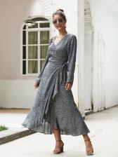 Bohemia Style v Neck Split Hem Printed Long Wrap Dress