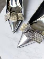 Pointed Toe Tiny Diamond Bow Ladies Kitten Heels