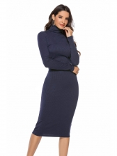High Neck Solid Long Sleeve Knitting Dress