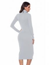High Neck Solid Long Sleeve Knitting Dress