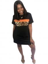 Leopard Printed Patchwork T-Shirt Dress