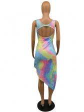 U Neck Backless Irregular Hem Tie Dye Dress
