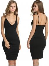Deep V Neck Backless Printed Bodycon Dress