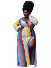 V Neck Colorful Striped Long Plus Size Dress