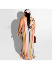 Multicolored Striped Tie-Wrap Plus Size Maxi Dress