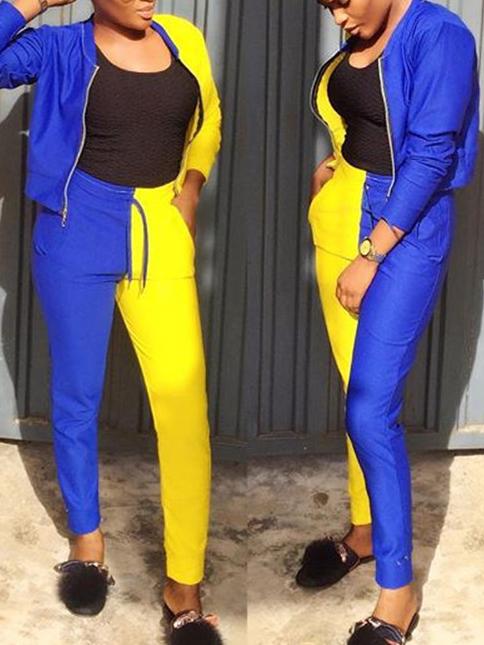 Contrast Color Zipper Up Casual 2 Piece Pants Set