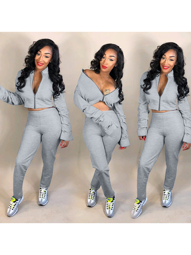 Simple Style Solid Color 2 Piece Co ord Tracksuit