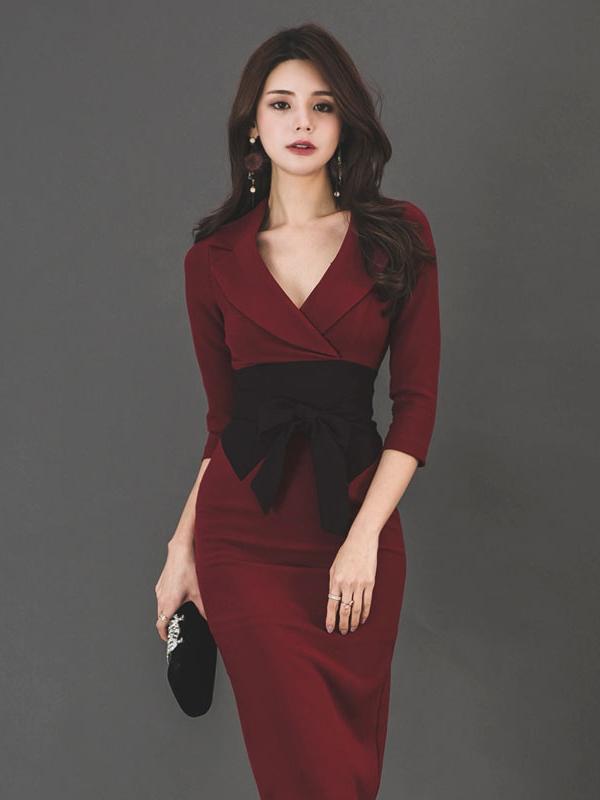 Ol Style V Neck Fitted Long Sleeve Burgundy Dress