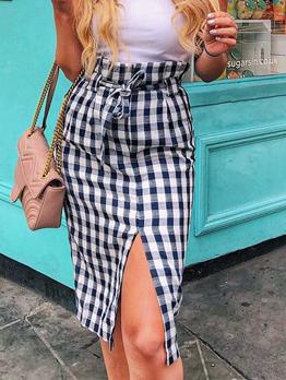Fashion Cotton Plaid Lace Up Split Skirt