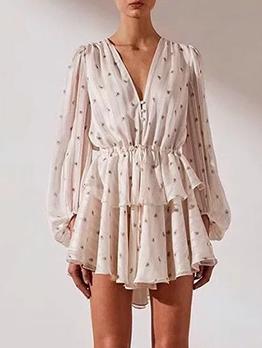 V Neck Lantern Sleeve Printed White Dress