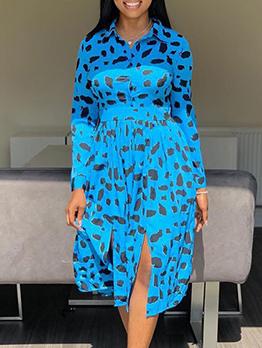 Printed Long Sleeve Split Midi Shirt Dress