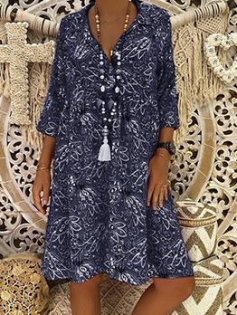 Loose Turndown Collar Long Sleeve Floral Dress