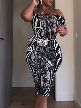 Sexy Backless Print Short Sleeve Bodycon Dress