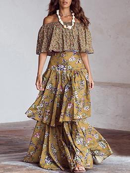 Bohemia Style Floral Flounced Hem Maxi Dress