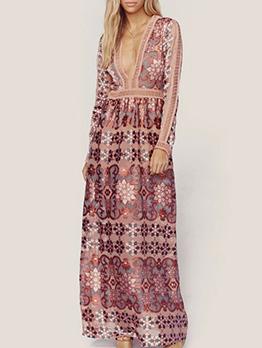 Deep v Neck Embroidery Chiffon Maxi Dress