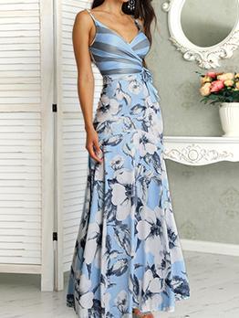 Flower Printed Shoulder Strap Maxi Dresses