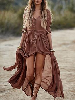 V Neck Single-Breasted Split Hem Maxi Dress