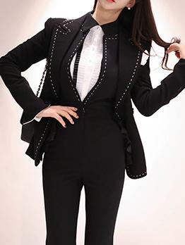 OL Style Black Blazer And Jumpsuit Boutique Set