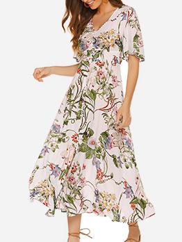 Vacation Elastic Waist Flower Printing Maxi Dresses