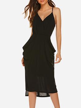 V Neck Lightweight Solid Sleeveless Dresses