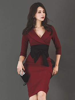 Ol Style V Neck Fitted Long Sleeve Burgundy Dress