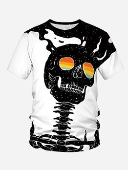 Halloween Skull Printed Short Sleeve T Shirt