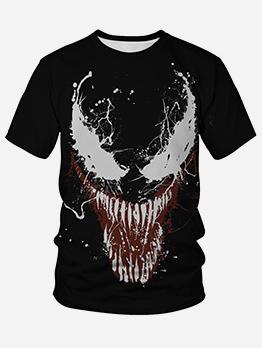 Halloween Crew Neck Printed Short Sleeve T Shirt
