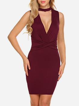 Deep V Neck Solid Slim Sleeveless Dresses