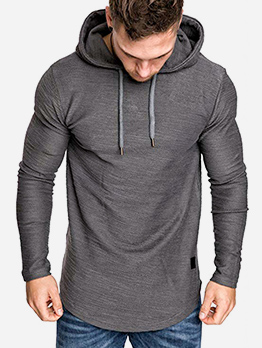 Solid Long Sleeve Hoodies For Men