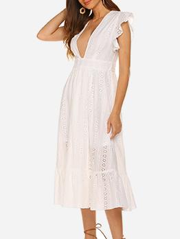 Deep V Neck Hollow Out White Midi Dresses
