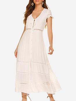 V Neck Lace Patchwork Short Sleeve Summer Dress