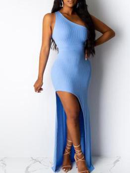 Inclined Shoulder Irregular Hem Knitting Maxi Dress