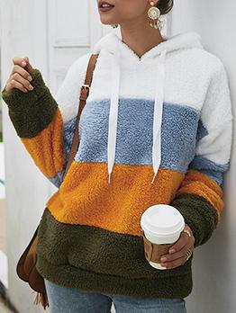 Contrast Color Woolen Pullover Hoodie