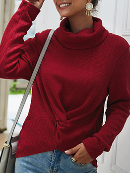 Casual Solid Color Twist Turtleneck Sweater
