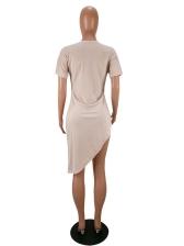 Irregular Design Pleated Solid Color Long T-shirt