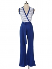 Patchwork Striped Deep V Neck Sleeveless Ladies Jumpsuits
