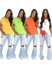 Irregular Hem Back Split Solid Color T-shirt