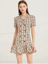 Slim Fit Double-Breasted Ruffle Plaid Dresses