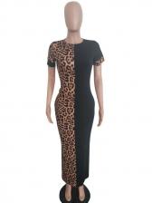 Leopard Contrast Color Short Sleeve Maxi Dress