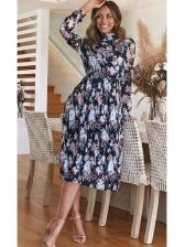 Elegant Floral Elastic Waist Long Sleeve Dress