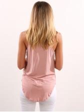 Casual Round Collar Solid Color Women Camisoles