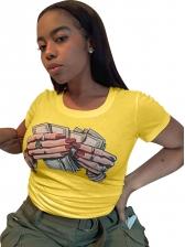 Creative Printing Crew Neck Short Sleeve T-shirt