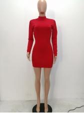 Solid Lomg Sleeve Drawstring Bodycon Mini Dress