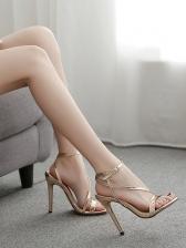 Elegant Solid Color Ankle Buckle Stiletto Sandals