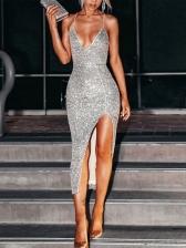 Elegant Sequins Split Strap Party Dresses