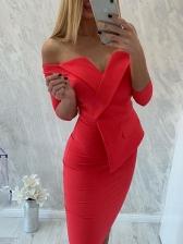 Elegant Solid Off Shoulder Bodycon Dresses