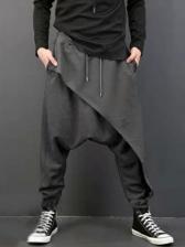 Pure Color Drawstring Harem Pants For Men