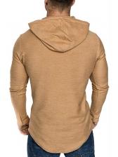 Solid Long Sleeve Hoodies For Men